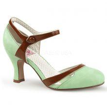 Coquetas sandalias Pin Up estilo d'Orsay polipiel combinada en 2 colores