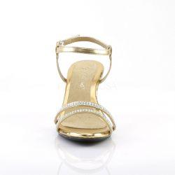 Sandalias tacón bajo Belle-316 con doble banda de strass talla 35 a 48
