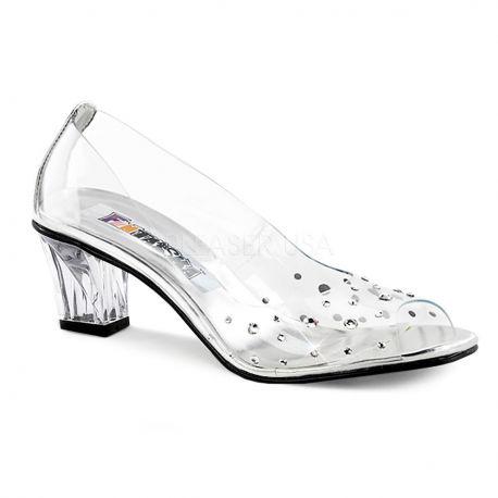 Zapatos transparentes de puntera abierta y decorados con pedrería