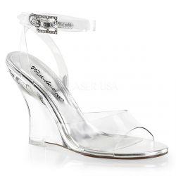 Sandalias transparente de tacón en cuña y correa al tobillo con strass