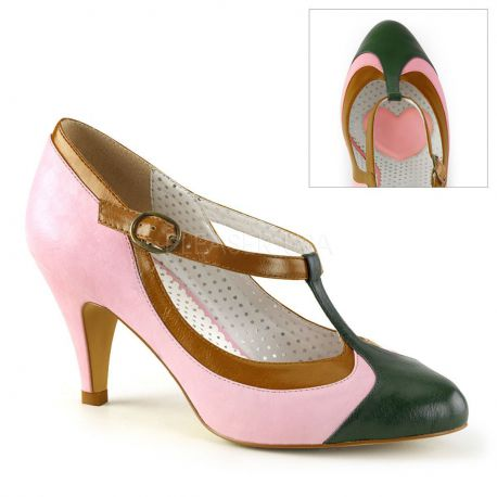 Zapatos moda Pin Up de tacón bajo y combinado en tonos pastel