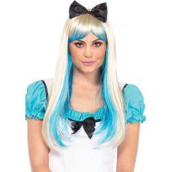 Peluca de fantasía de pelo largo liso rubio y azul con gran lazo negro