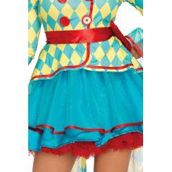 Disfraz lujoso y colorido de payaso de carnaval formado por 4 piezas