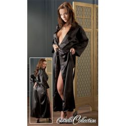Kimono largo de satén brillante con cinturón