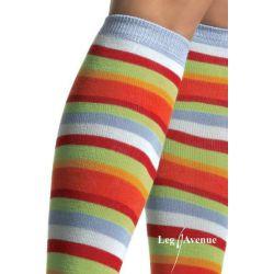 Medias a la rodilla en tejido ópaco a rayas multicolores