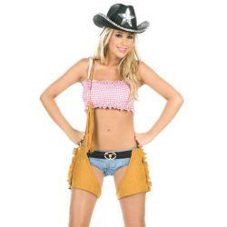 Sexy disfraz de vaquera compuesto por mini shorts con cinturón.
