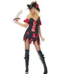 Disfraz de capitan pirata compuesto por vestido a rayas, brazalete y espada.