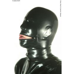 Mascara de látex anatómica con cremallera en la boca