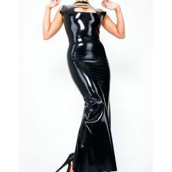 Vestido largo de látex sin mangas con recortes decorativos