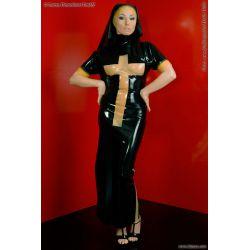 Disfraz fetish de látex de monja relijiosa