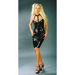 Vestido corto de látex con correas