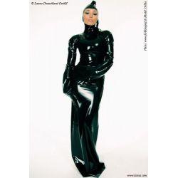 Vestido largo de látex manga larga y cierre de cremallera superior