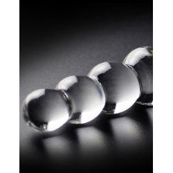 """Consolador de cristal """"Icicles N. 2"""" de forma recta con 9 bolas"""