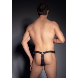 Tanga masculino de cuero con argollas y consolador anal