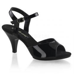 Sandalias de vinilo negro brillante con correa al tobillo