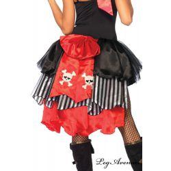 Cola de falda pirata con lazo de satén y dibujo de calaveras