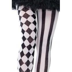 Pantys de arlequín con rayas verticales y rombos