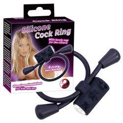 Lazo negro de silicona para pene con vibrador