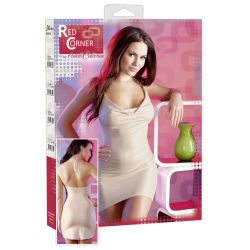 "Mini vestido serie ""Red Corner"" refinado diseño en discreto color carne"