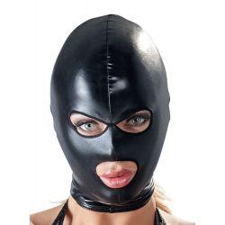 Capucha integral de tejido brillante con abertura para boca y ojos