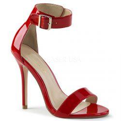 Sandalias de charol brillante tacón aguja y correa ancha talla 35 a 48