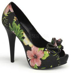 Zapato estilo retro con punta abierta, estampado de flores y detalle frontal en forma de flor
