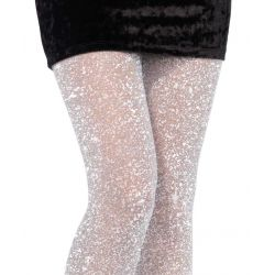 Pantys finos Leg Avenue de lurex con partículas brillantes plateadas
