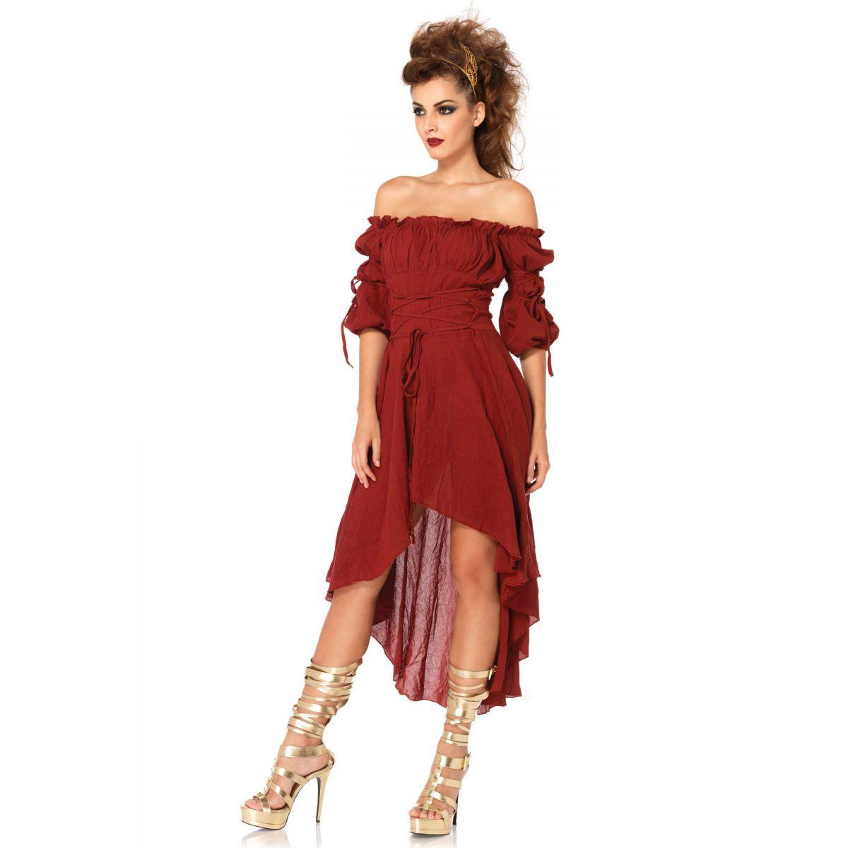 Vestido Para Disfraz En 3 Colores De Estilo Campesina Corte