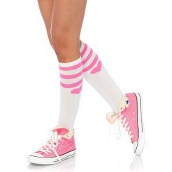 Calcetines acrílicos con rayas y corazón, también en blanco
