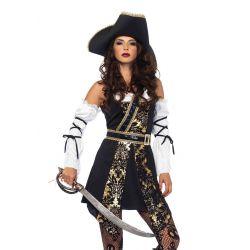 Disfraz Leg Avenue para carnaval de pirata bucanera de 4 piezas