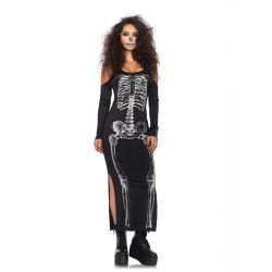 Vestido largo para halloween con estampado de huesos de esqueleto