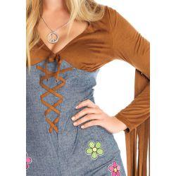 Disfraz hippie de chica Boho con un look bohemio. Leg Avenue de 2 piezas