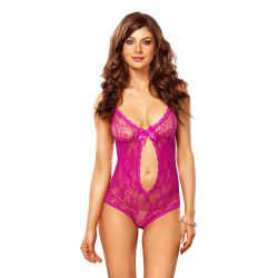 Provocativo body de color rosa con encaje floral