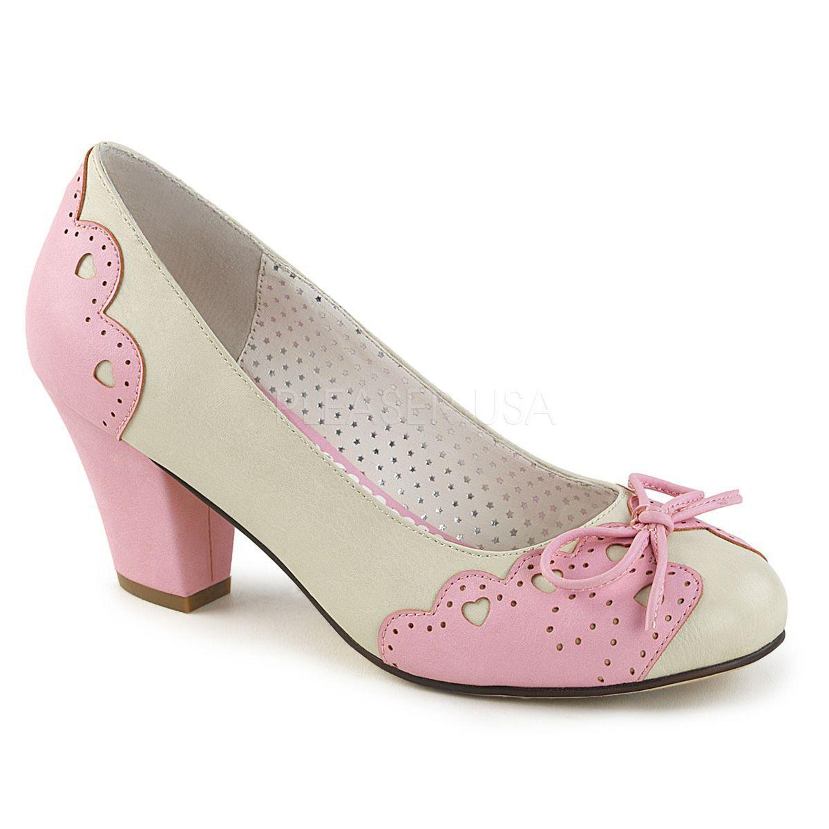 Zapatos Pin Up de tacón bajo y lazo al frente con detalles de corazones