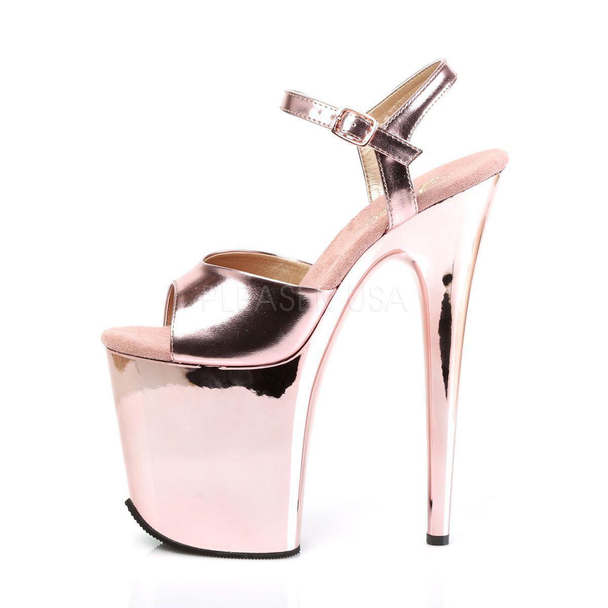 Sandalias FLAMINGO para Shows extra altas de 8 pulgadas y efecto metalizado