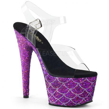 Sandalias de plataforma PLEASER cubiertas de purpurina con efecto escamas