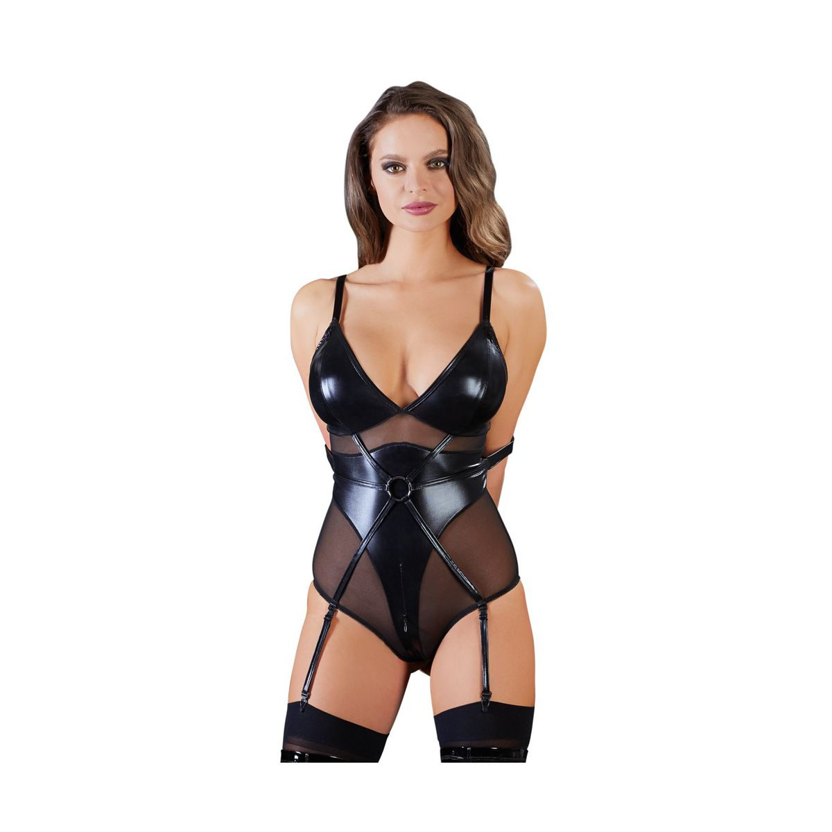Body para juegos de bondage en tejido brillante con aberturas y ligueros
