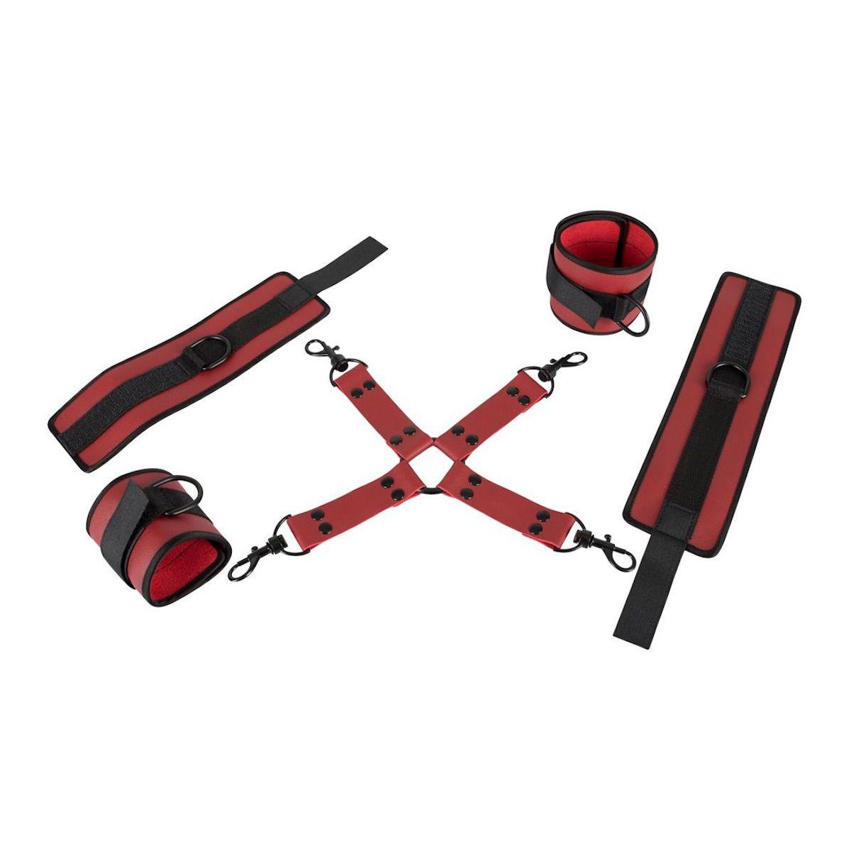 Conjunto de esposas bondage para amarrar pies y manos en forma de cruz