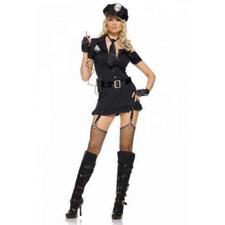 Sexy disfraz de policia de mini vestido con cinturón