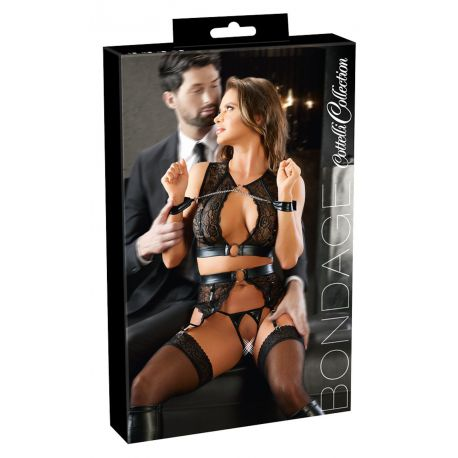 ¡Elegante y refinado para mujeres sumisas!. Conjunto 4 piezas con cadenas