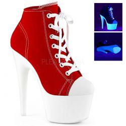 Zapatos de lona estilo deportivas con caña alta y plataforma neón UV