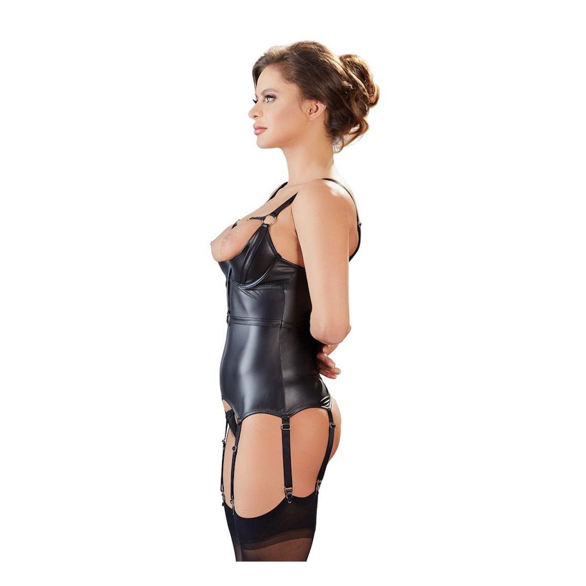 ¡Para tus juegos de BDSM!.. corpiño negro brillante con copas abiertas