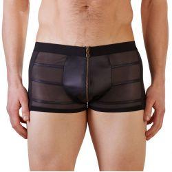 Boxer muy masculinos en tejido brillante y malla transparente con cremallera