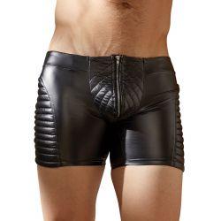 Pantalones cortos de estilo motorista en tejido brillante con cremallera