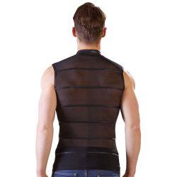 Camiseta masculina ceñida en tejido transparante con cremallera frontal