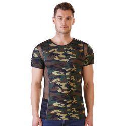 ¿Preparado para una misión Sexy?.. camiseta ceñida de camuflaje y malla