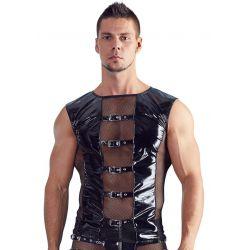 Camisa de charol brillante con insercciones de malla de red y correas