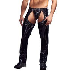 Pantalones chaps masculinos de charol negro brillante abiertos al frente