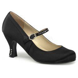 Zapato hebilla saten punta redonda