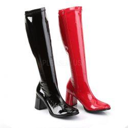 Botas charol brillante y tacón grueso una color rojo y otra en negro
